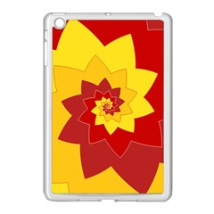 Flower Blossom Spiral Design  Red Yellow Apple iPad Mini Case (White)