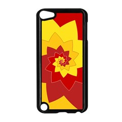 Flower Blossom Spiral Design  Red Yellow Apple iPod Touch 5 Case (Black)