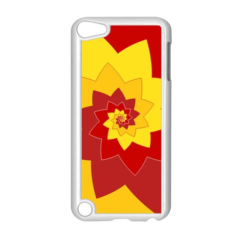 Flower Blossom Spiral Design  Red Yellow Apple iPod Touch 5 Case (White)