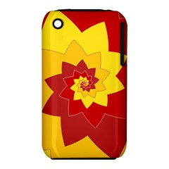 Flower Blossom Spiral Design  Red Yellow Apple iPhone 3G/3GS Hardshell Case (PC+Silicone)