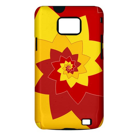 Flower Blossom Spiral Design  Red Yellow Samsung Galaxy S II i9100 Hardshell Case (PC+Silicone)