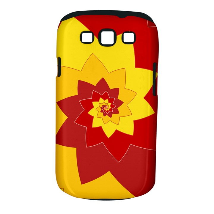 Flower Blossom Spiral Design  Red Yellow Samsung Galaxy S III Classic Hardshell Case (PC+Silicone)