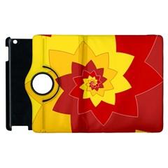 Flower Blossom Spiral Design  Red Yellow Apple Ipad 2 Flip 360 Case