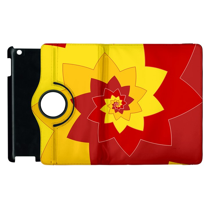 Flower Blossom Spiral Design  Red Yellow Apple iPad 3/4 Flip 360 Case