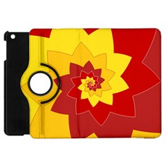Flower Blossom Spiral Design  Red Yellow Apple Ipad Mini Flip 360 Case