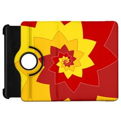 Flower Blossom Spiral Design  Red Yellow Kindle Fire HD Flip 360 Case