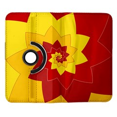 Flower Blossom Spiral Design  Red Yellow Samsung Galaxy Note II Flip 360 Case