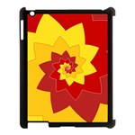 Flower Blossom Spiral Design  Red Yellow Apple iPad 3/4 Case (Black) Front
