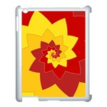 Flower Blossom Spiral Design  Red Yellow Apple iPad 3/4 Case (White) Front