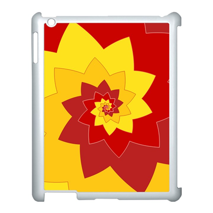 Flower Blossom Spiral Design  Red Yellow Apple iPad 3/4 Case (White)