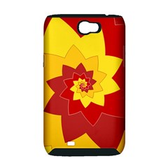 Flower Blossom Spiral Design  Red Yellow Samsung Galaxy Note 2 Hardshell Case (PC+Silicone)