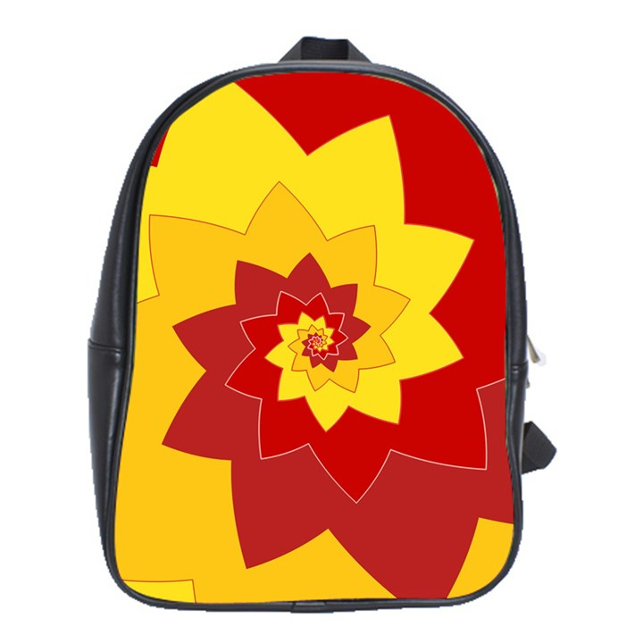 Flower Blossom Spiral Design  Red Yellow School Bags (XL)