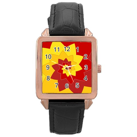 Flower Blossom Spiral Design  Red Yellow Rose Gold Leather Watch