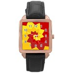 Flower Blossom Spiral Design  Red Yellow Rose Gold Leather Watch  Front