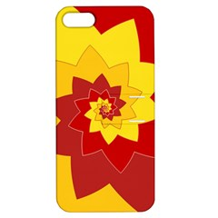 Flower Blossom Spiral Design  Red Yellow Apple Iphone 5 Hardshell Case With Stand