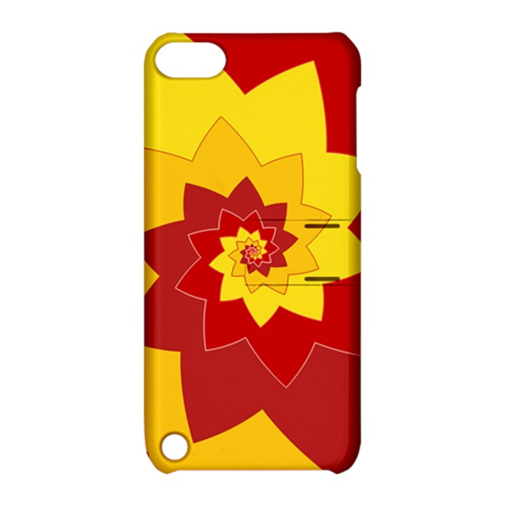 Flower Blossom Spiral Design  Red Yellow Apple iPod Touch 5 Hardshell Case with Stand