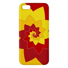 Flower Blossom Spiral Design  Red Yellow Apple Iphone 5 Premium Hardshell Case