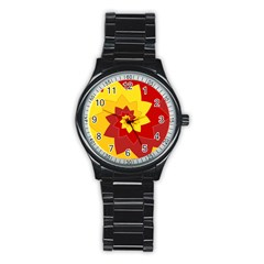 Flower Blossom Spiral Design  Red Yellow Stainless Steel Round Watch