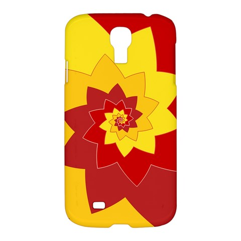 Flower Blossom Spiral Design  Red Yellow Samsung Galaxy S4 I9500/I9505 Hardshell Case