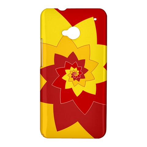 Flower Blossom Spiral Design  Red Yellow HTC One M7 Hardshell Case