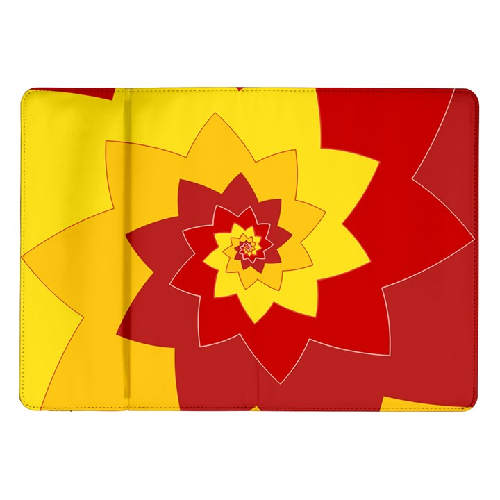 Flower Blossom Spiral Design  Red Yellow Samsung Galaxy Tab 10.1  P7500 Flip Case