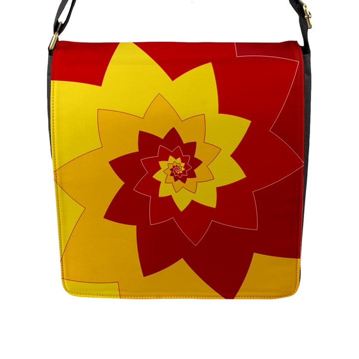 Flower Blossom Spiral Design  Red Yellow Flap Messenger Bag (L)