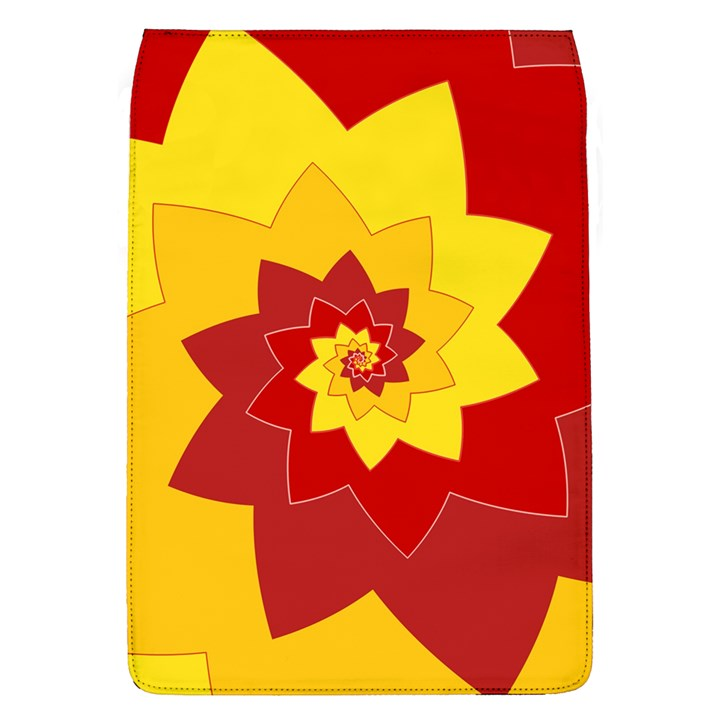 Flower Blossom Spiral Design  Red Yellow Flap Covers (L)