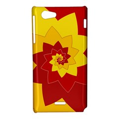 Flower Blossom Spiral Design  Red Yellow Sony Xperia J