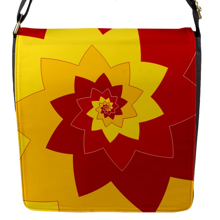 Flower Blossom Spiral Design  Red Yellow Flap Messenger Bag (S)