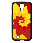 Flower Blossom Spiral Design  Red Yellow Samsung Galaxy S4 I9500/ I9505 Case (Black) Front