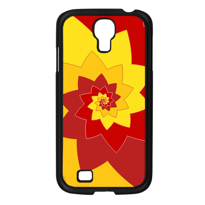 Flower Blossom Spiral Design  Red Yellow Samsung Galaxy S4 I9500/ I9505 Case (Black)