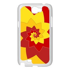 Flower Blossom Spiral Design  Red Yellow Samsung Galaxy Note 2 Case (White)