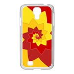 Flower Blossom Spiral Design  Red Yellow Samsung GALAXY S4 I9500/ I9505 Case (White) Front