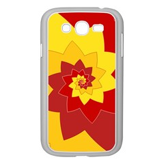 Flower Blossom Spiral Design  Red Yellow Samsung Galaxy Grand DUOS I9082 Case (White)