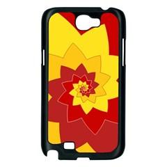 Flower Blossom Spiral Design  Red Yellow Samsung Galaxy Note 2 Case (Black)