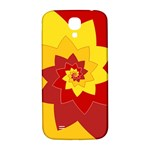 Flower Blossom Spiral Design  Red Yellow Samsung Galaxy S4 I9500/I9505  Hardshell Back Case Front