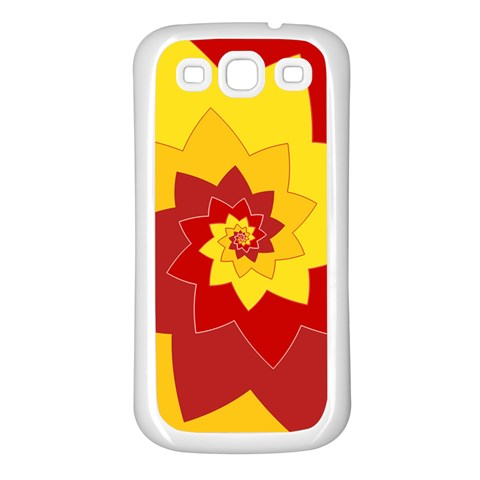 Flower Blossom Spiral Design  Red Yellow Samsung Galaxy S3 Back Case (White)