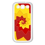 Flower Blossom Spiral Design  Red Yellow Samsung Galaxy S3 Back Case (White) Front