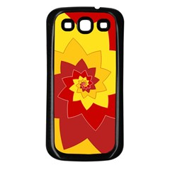 Flower Blossom Spiral Design  Red Yellow Samsung Galaxy S3 Back Case (black)