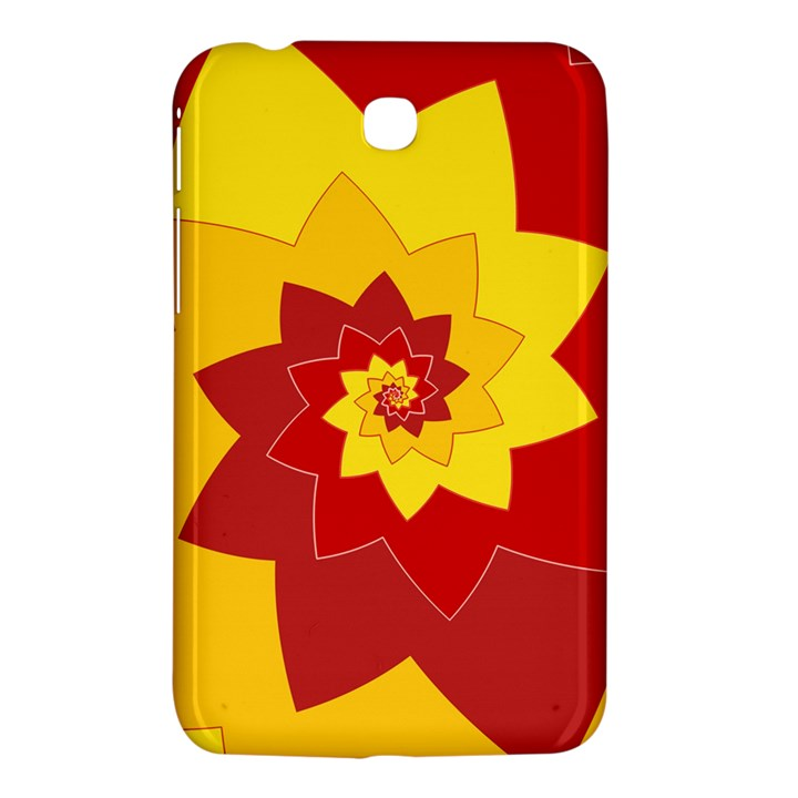 Flower Blossom Spiral Design  Red Yellow Samsung Galaxy Tab 3 (7 ) P3200 Hardshell Case