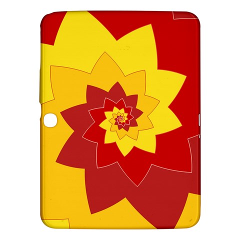 Flower Blossom Spiral Design  Red Yellow Samsung Galaxy Tab 3 (10.1 ) P5200 Hardshell Case