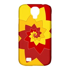 Flower Blossom Spiral Design  Red Yellow Samsung Galaxy S4 Classic Hardshell Case (PC+Silicone)