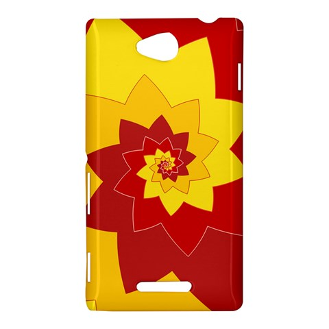 Flower Blossom Spiral Design  Red Yellow Sony Xperia C (S39H)