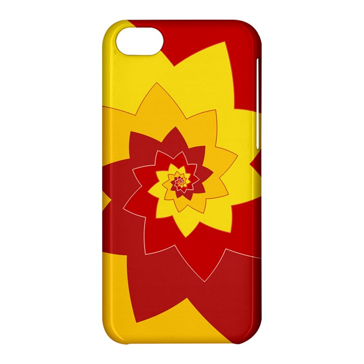 Flower Blossom Spiral Design  Red Yellow Apple iPhone 5C Hardshell Case