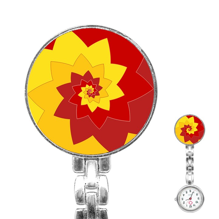 Flower Blossom Spiral Design  Red Yellow Stainless Steel Nurses Watch
