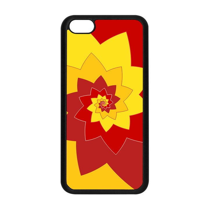 Flower Blossom Spiral Design  Red Yellow Apple iPhone 5C Seamless Case (Black)