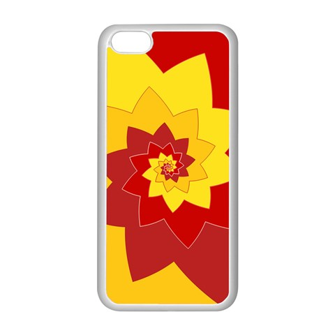 Flower Blossom Spiral Design  Red Yellow Apple iPhone 5C Seamless Case (White)