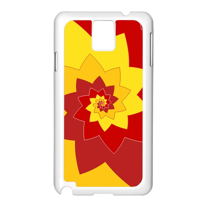 Flower Blossom Spiral Design  Red Yellow Samsung Galaxy Note 3 N9005 Case (White)