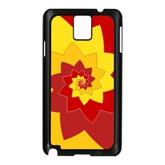 Flower Blossom Spiral Design  Red Yellow Samsung Galaxy Note 3 N9005 Case (Black)