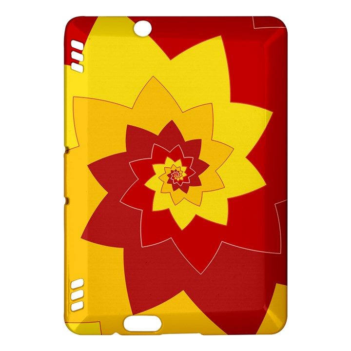 Flower Blossom Spiral Design  Red Yellow Kindle Fire HDX Hardshell Case